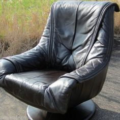 70er Design Leder Sessel  Loungechair / Relaxsessel Tulpenfuß super bequem in Antiquitäten & Kunst, Design & Stil, 1960-1969, Mobiliar & Interieur | eBay
