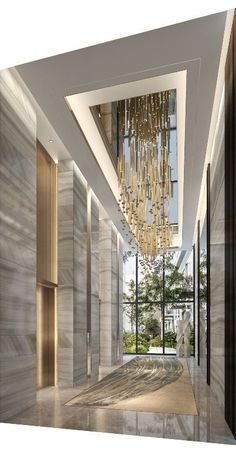 Beautiful ceiling fixtures in modern hotel lobby Design Hotel, Modern House Design, Modern Interior Design, Contemporary Interior, Contemporary Style, Classic Interior, Scandinavian Interior, Planchers En Chevrons, Design Living Room