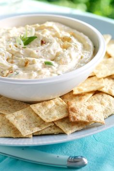 Kick your summer parties up a notch with this Double Onion Dip. Best served with pita chips or crackers, or even fresh veggies! #appetizer #food