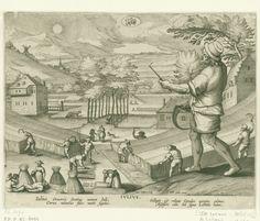 Jan Collaert (II) | Juli, Jan Collaert (II), Cornelis Kiliaan, Philips Galle, 1586 - 1618 | Op de voorgrond rechts staat een boer van middelbare leeftijd met een sikkel in de hand. Op de achtergrond het hooien en het maaien van het gras. Middenboven in de wolken het astrologisch teken van de Leeuw. De prent heeft een Latijns onderschrift en is deel van een twaalfdelige serie over de maanden van het jaar.