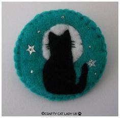 Felt Cat and Moon brooch pin Cat gift Handmade by CraftyCatLadyUK