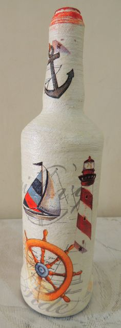 Items similar to Anchor Decoupage Bottle,Nautical Theme, Sailor Bottle on Etsy Napkin Decoupage, Decoupage Ideas, Handmade Home Decor, Handmade Crafts, Glass Bottle, Wine Bottles, Bottle Crafts, Projects To Try, Christmas Gifts