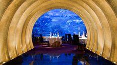 Another view of the restaurant with the aquarium in it (or rather, YOU are in the aquarium!!) In Burj Al Arab, Dubai