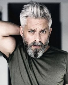 Model swedish grey hair silverfox mens style beard grooming silver male men's . - Model swedish grey hair silverfox mens style beard grooming silver male men's apperal men's cl - Grey Hair Beard, Men With Grey Hair, Gray Hair, Beard Styles For Men, Hair And Beard Styles, Mens Medium Length Hairstyles, Mens Toupee, Mustache Styles, Grey Beards
