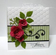 white embossing, pretty flowers, love the subtle stripe