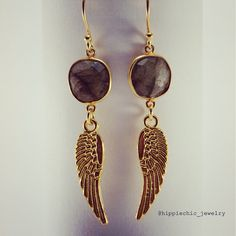 #gold #angelwings with #labradorite #earrings #style #jewelry #handmade Labradorite, Fashion Accessories, Drop Earrings, Womens Fashion, Gold, Handmade, Jewelry, Style, Hand Made