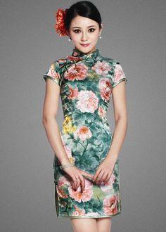 Short Floral Cheongsam / Qipao / Chinese Dress