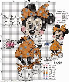 "Delicado Cantinho: Gráficos Ponto Cruz ""Mickey e Minnie"""