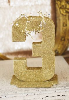 {All That Glitters Is Gold} Golden Birthday Party...glittery birthday number for table display