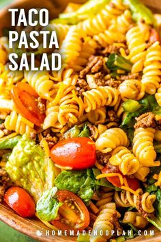Traditional taco pasta salad made with spiral pasta ground beef sweet tomatoes veggies plenty of cheese and topped with sweet Catalina dressing. Classics are classic for a reason and this fan-favorite recipe proves it! Easy Taco Salad Recipe, Taco Salad Recipes, Pasta Recipes, Dinner Recipes, Cooking Recipes, Dinner Ideas, Meal Recipes, Chicken Recipes, Recipies