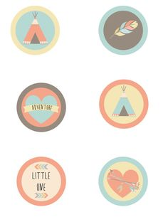 INSTANT DOWNLOAD Printable tribal cupcake toppers, yellow, brown, coral, aqua, arrow, teepee, heart, The Petunia Tree
