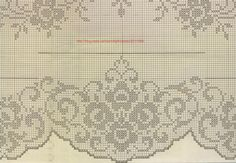 Kira scheme crochet: Scheme crochet no. Crochet Borders, Crochet Patterns, Fillet Crochet, Crochet Curtains, Manta Crochet, Filets, Weaving Patterns, Patterns In Nature, Crochet Home