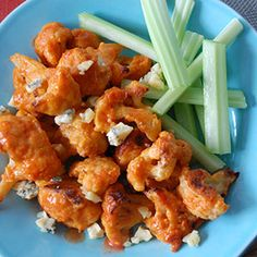 Check out this great recipe from Franks RedHot: Buffalo Cauliflower Bites (can use brown rice flour)