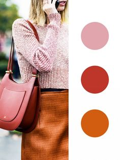 Fall's Most Interesting Color Combinations via Give your ensemble a warm glow by pairing colors with red, pink, and orange undertones together. Colour Combinations Fashion, Fashion Colours, Color Combos, Color Schemes, Color Combinations For Clothes, Color Mix, Color Pairing, Creative Colour, Classic Style Women