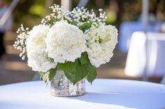 White Hydrangea and Baby's Breath Centerpiece at Myrtle Beach Wedding
