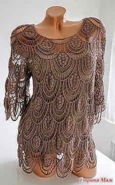 Hermosa blusa artesanal para las más avanzadas en tejido / patrones
