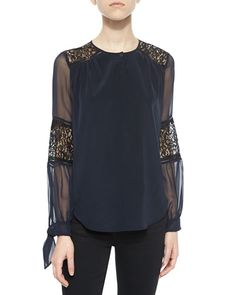 T9Q9T Rebecca Taylor Silk Lace-Inset Blouse