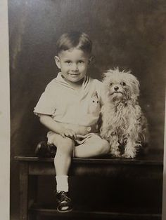 Old 1910s RPPC Little Boy Holding Small Ugly Dog Postcard AZO