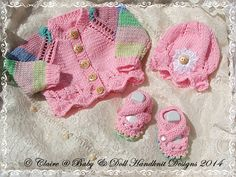 """New baby girl gift set cardigan, bonnet and shoes for early/newborn baby/15-19"""" doll-"""