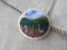 Needle felted brooch Ireland. Not available from Etsy, but what a great idea to make someday. Felted jewelry. Beautiful.