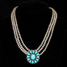 Navajo  Sleeping Beauty Turquoise Cluster Pendant Sterling Bench Beads NECKLACE