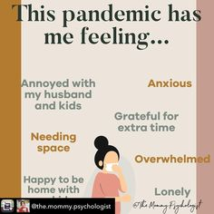 Checking in with moms and pregnant women - How has this pandemic gotten you feeling? Even if you aren't experiencing anxiety or depression, your wellbeing is still very important.  We would love to hear from you! Let us know how you're feeling. We may be physically distancing, but we can still build each other up.  Many thanks to Dr. Sandra Daoud Konja for sharing this graphic with us @the.mommy.psychologist  #pregnancy #parenting #baby #maternalmentalhealth #emotionalwellbeing… Anxious, Depression, Pregnancy, Stress, How Are You Feeling, Parenting, Thankful, Let It Be, How To Plan