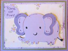 Create a Critter Cricut Cartridge elephant card - Great birthday card for a little girl!