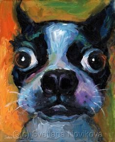 Whimsical Boston Terrier dog painting by Svetlana Novikova Contemporary Fine Art