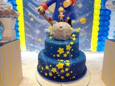the little prince kids party cake decor Little Prince Party, The Little Prince, Prince Birthday Party, Baby Birthday, Baby Party, Baby Shower Parties, Bolo Lego, Prince Cake, Movie Cakes