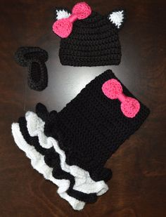 Crochet Black Cat Costume Baby Tutu Dress with Matching Hat and Slipper shoes Photo Prop Custom Made Girl Costume