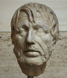 Uknown author (erroneously called Seneca, possibly the poet Hesiod), head of Roman sculpture (marble), 2nd century AD, (Palazzo Massimo alle Terme, Rome).