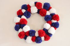 Patriotic Wreath - Fourth of July Wreath - Red, White and Blue Pom Pom Wreath