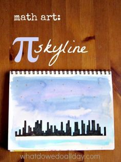 Math art projects for kids -- a pi city skyline. Pi stars in the sky.