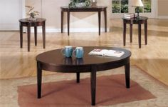 "4-pc Beautiful Design Coffee Table Set in Espresso Finish PDS F30052 F30051 by click 2 go. $519.00. espresso finish. coffee table/ end table. coffee table:48""x32""x19""H end table: 22""x23""H. console table:48""x18""x27""H. newDesign Coffee Table Set. some assembly maybe required."