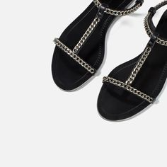 FLAT SANDALS WITH CHAIN DETAIL-Extended sizes-SHOES-WOMAN | ZARA United States