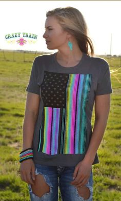 New Crazy Train Neon Nation Serape American Flag Small Gray Serape USA | Clothing, Shoes & Accessories, Women's Clothing, Tops & Blouses | eBay!