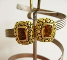 Vintage Golden Amber Glass Clip-On Earrings - Vintage Jewelry by FembyDesign