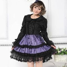 Black Purple Lace Stripe Long Sleeve Gothic Lolita Fashion Party Dress SKU-11402521