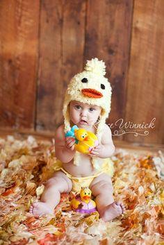 Little Duck Crochet Hat Earflap Photography Prop Ready Item on Etsy, $17.00