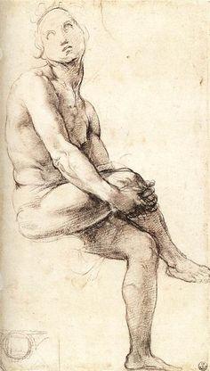Estudio para Adán, yeso de Raphael (Raffaello Sanzio Da Urbino) (1483-1520, Italy)