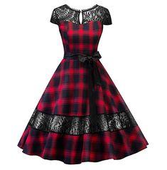 Hepburn dress English tartan checks plaid lace dress with sash pin up rockabilly swing flare dress robe vestidos Mode Outfits, Fashion Outfits, Dress Outfits, Dress Fashion, Lolita Fashion, Modest Fashion, Fashion Boots, Fashion Fashion, Trendy Fashion