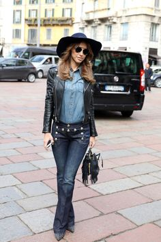 The full-on Canadian tuxedo look has only become more popular. Achieve this by tucking a chambray shirt int...