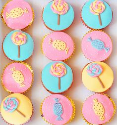 So sweet, girly, and splendidly pretty! #cupcakes #candy #lollipops #pink #yellow #aqua #birthday #cake #party #food
