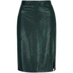 Yumi Leather Look Pencil Skirt (66 CAD) ❤ liked on Polyvore featuring skirts, green, women, faux leather pencil skirt, vegan leather pencil skirt, green high waisted skirt, high rise skirts and high waisted knee length skirt