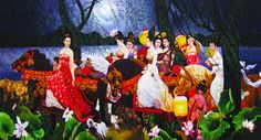 """Ladies in Procession #Handmade #Silk #Embroidery #Art 75086 http://www.queensilkart.com/100-handmade-embroidery-framed-people-ladies-in-procession-75086/ These aristocratic ladies from the Tang Dynasty shimmer under the moonlight in pure silk thread. We know these ladies are from the Tang Dynasty, due to the dots on their foreheads. For a number of years after a visit from Marco Polo and his crew, """"Third-Eye Dots"""" were a popular fashion accessory for the stylish."""