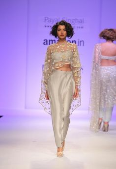 Pale grey crop top & pants with embroidered cape