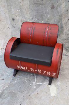 Industrial Furniture Barrel Chair Distressed by WhitesIndustrial