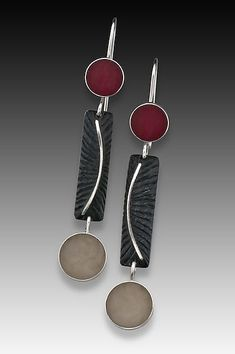 """Dot Bar Dot Earring"" Silver & Resin Earrings Created by Eileen Sutton - Hand fabricated Sterling silver with cast resin. $120.00"