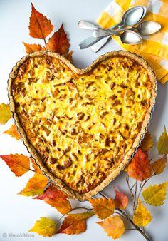 Gluteeniton sienipiirakka Gluten Free Vegetarian Recipes, Lasagna, Tart, Food And Drink, Pizza, Snacks, Baking, Ethnic Recipes, Desserts