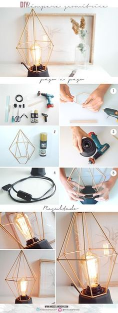Make your own geometric decor and crafts! Geometric designs are on trend and you can join in with these easy DIY tutorial ideas. Diy Tumblr, Tumblr Lamp, Luminaria Diy, Geometric Lamp, Ideias Diy, Diy Home Crafts, Diy Photo, Diy Wall Decor, Diy Furniture